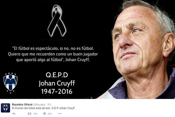 Rayados Lamentó Muerte De Johan Cruyff Mediotiempo