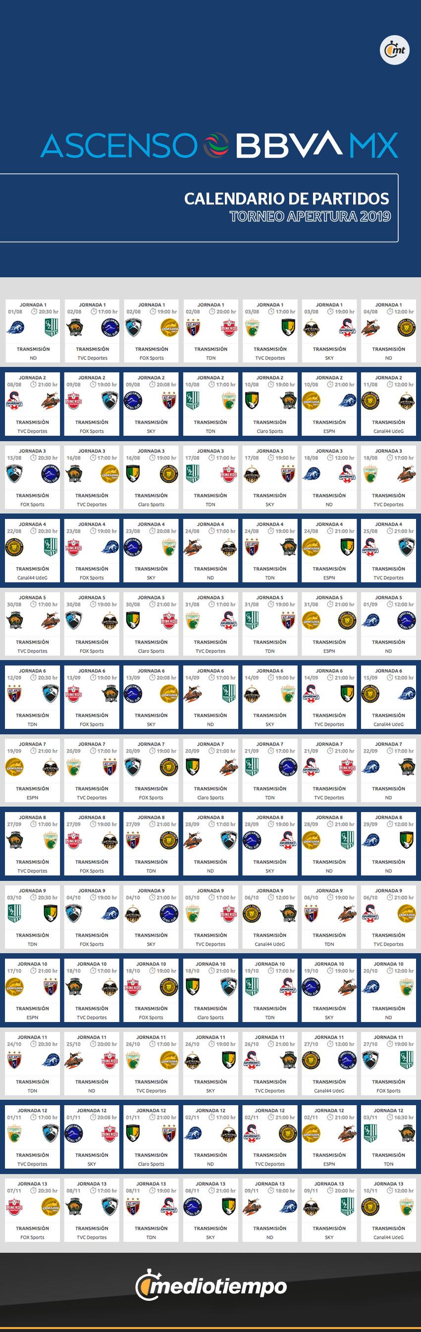 Liga Bbva Calendario 2019.Ascenso Mx Calendario Completo Del Apertura 2019 Partidos Y