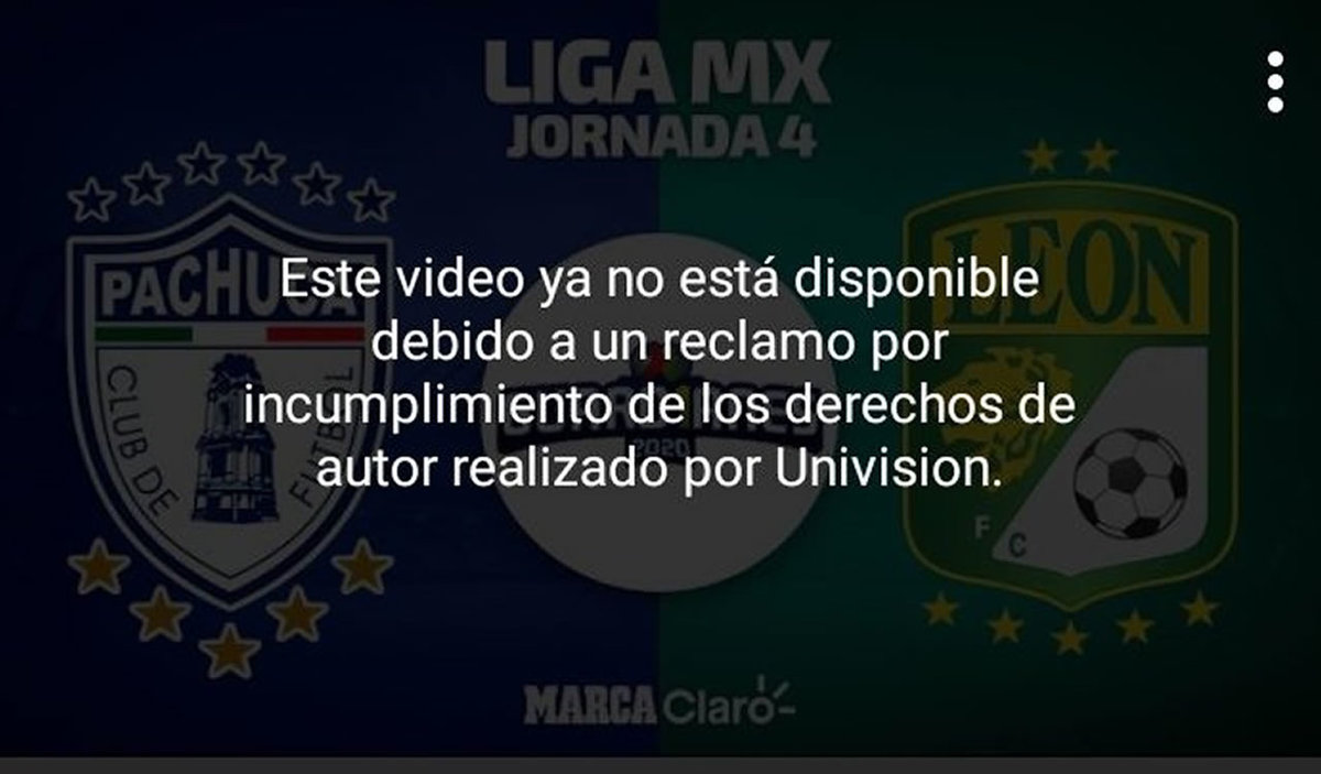 El mensaje con el que se mostró el bloqueo de la transmisión en Claro Sports por órdenes de Univisión.