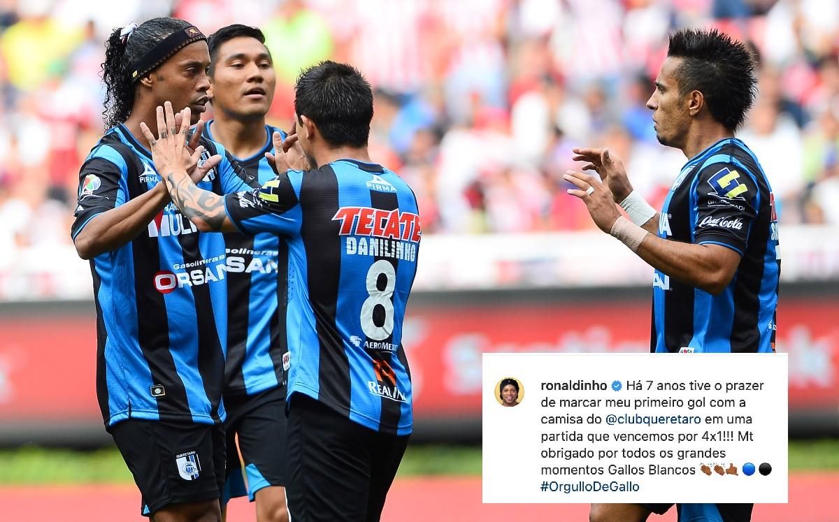 ¡No lo olvida! Ronaldinho recuerda su primer gol con Querétaro en la Liga MX